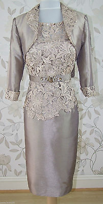 Silver Knee Length Mother of the Bride suit/outfit Lace Wedding Mum Dress Jacket