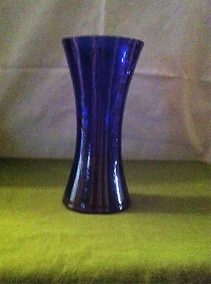 "Cobalt Blue Classic Crackle Vase 7"" by 3.5 on top"