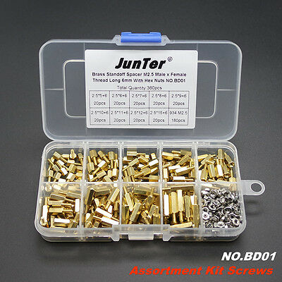 360pcs M2.5 Brass Standoff Spacer M2.5 Male x Female With Hex Nuts NO.BD01
