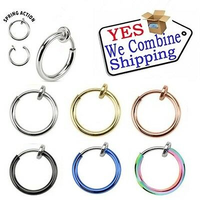 Fake Piercing Hoop Ring Spring Clip On Lip Nose Septum Ear Earring 8mm 10mm