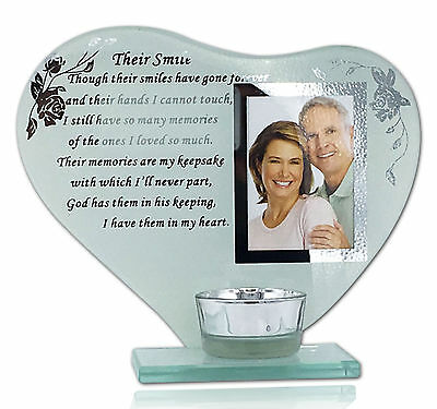 Memorial Funeral Glass Ornament THEIR SMILE with Poem His Her Smile Garden Grave
