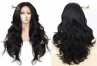 Black Lace Front Wig Long Wavy Ombre Heat Resistant Synthetic Madam Hair Wigs