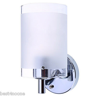 Single Head Bedroom Wall Light with White Polished Glass Shade E27 Lamp New