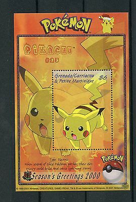 Grenadines Grenada 2000 MNH Pokemon #23 Pikachu Season's Greetings 1v S/S Stamps