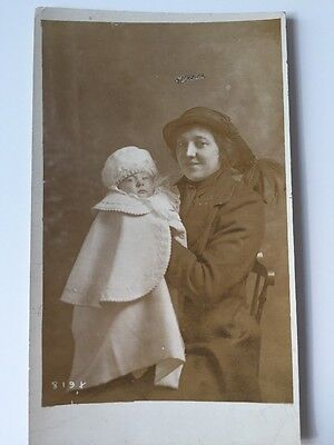 Vintage Postcard Photograph - Real Person - Unknown Lady With Child c1910s