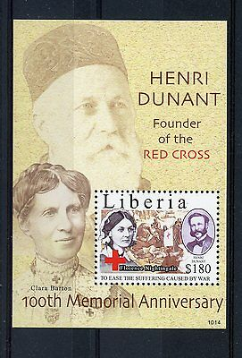 Liberia 2010 MNH Henri Dunant 100th 1v SS Red Cross Florence Nightingale Stamps