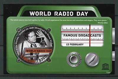 Liberia 2013 MNH UNESCO World Radio Day 1v S/S War of Worlds Orson Welles Stamps