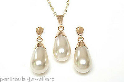 9ct Gold Pearl Teardrop Pendant and Earring Set Gift Boxed Made in UK