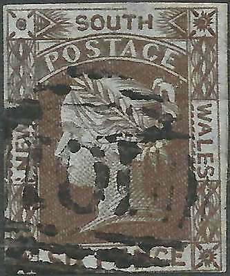 NSW 1852-53 Laureate 6d Grey-Brown on Blued imperf sg76 cv£250 ACSC7a fine used