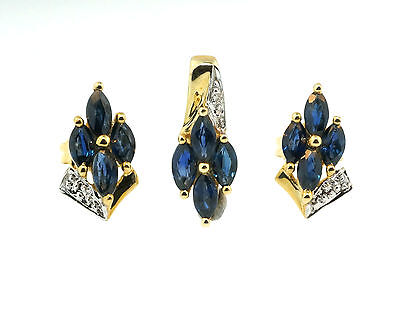 9ct Yellow Gold Marquise Sapphire & Diamond Pendant & Earring Set