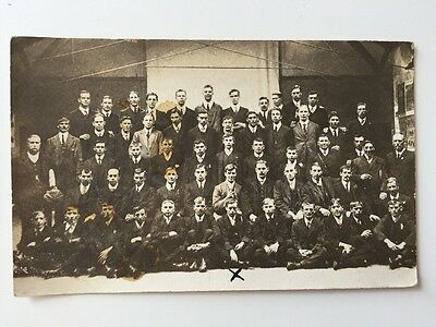 Vintage Postcard Photograph - Real Person - Unknown Group Of Young Men
