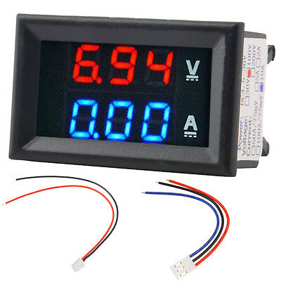 DC 0~100V 10A Voltmeter Ammeter LED Amp Volt Meter Gauge Voltage Current  XG
