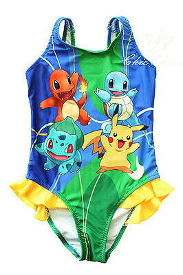 UK SELLER Pokemon Go Girls Swimwear Swimming Costume Pikachu Squirtle Charmande