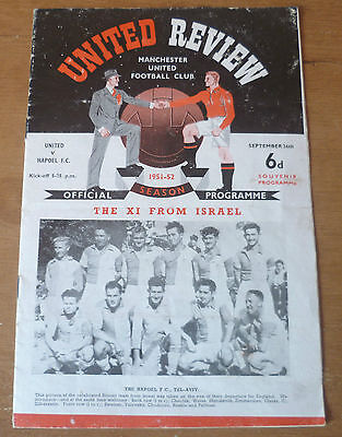 Manchester United v Hapoel F.C., 1951/52 - Friendly Match Programme.
