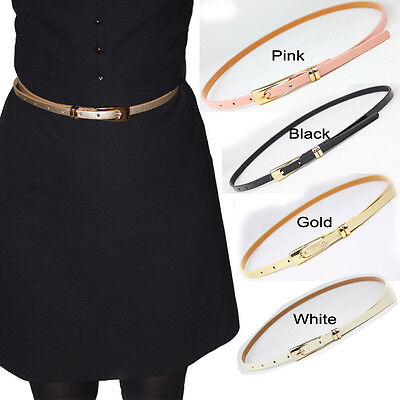 Ladies Women Girls Fashion Skinny Thin PU Leather Waist Belt Waistbelt