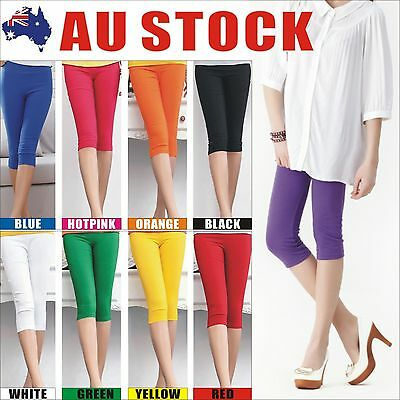 Womens 3/4 Length Soft Strentch Leggings S-XXL Au Size 8-20 Lady Black/White/Red
