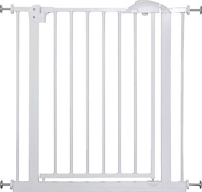"Door- and Stair- Safetygate MIKA 29.5"" - 68.9"" Metal White Barrier Kid Pet Child"