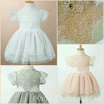 Girls Lace Bridesmaid Dress Tutu Tulle Flower girl Party Christening Communion