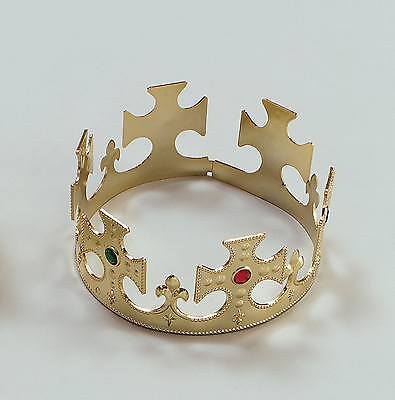 FANCY DRESS Crown. Gold Plastic Flat Packed