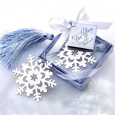 Novely Cute Snowflake Creative Exquisite Alloy Bookmarks With Ribbon Box Gift
