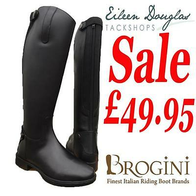 Brogini Tall Leather Horse Riding Boots *3 Calf Sizes* Black Long