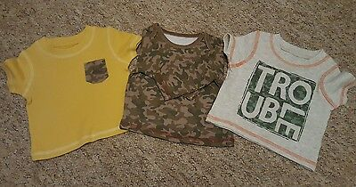 Baby boys bundle of 3 army style tops 0-3 months