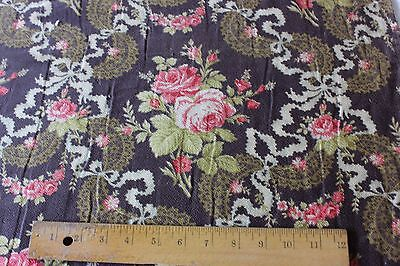 Antique Victorian Roses, Lace&Bows Printed HomeDec Textile Fabric c1880~Quilters