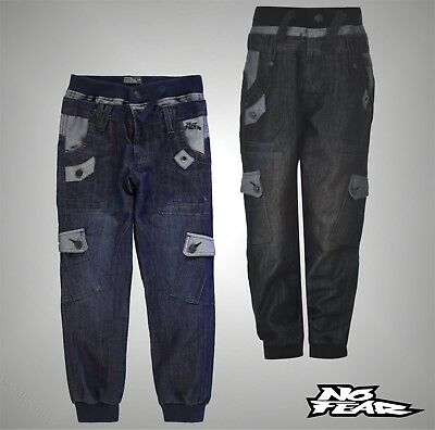 Junior Boys No Fear Drawstring Double Waist 6 Pockets Jeans Pants Size Age 7-13