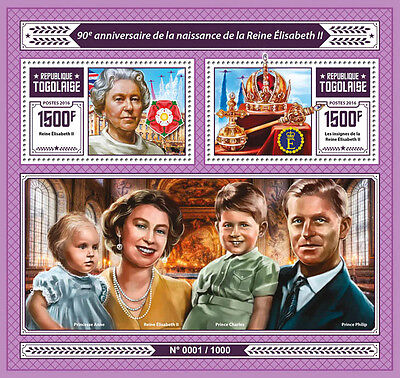 Togo 2016 MNH Queen Elizabeth II 90th Birthday Ann 2v S/S Prince Charles Stamps