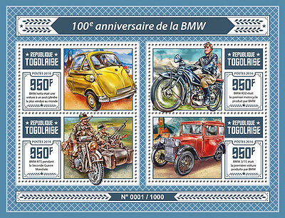 Togo 2016 MNH BMW 100th Anniv 4v M/S BMW 3/15 Isetta Cars Motorcycles Stamps