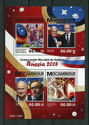 Mozambique 2015 MNH World Cup Football Russia 2018 4v M/S Putin Platini Stamps