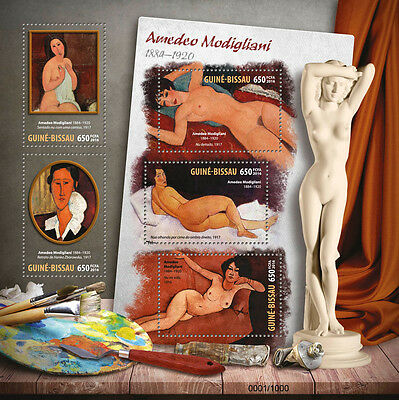 Guinea-Bissau 2016 MNH Amedeo Modigliana 5v M/S Reclining Nude Paintings Stamps
