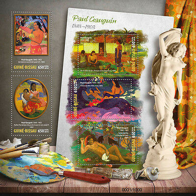 Guinea-Bissau 2016 MNH Paul Gauguin 5v M/S When Will Marry Nude Paintings Stamps