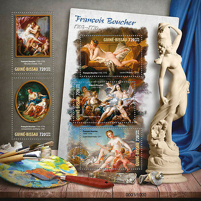 Guinea-Bissau 2016 MNH Francois Boucher 5v M/S Hercules Nude Paintings Stamps