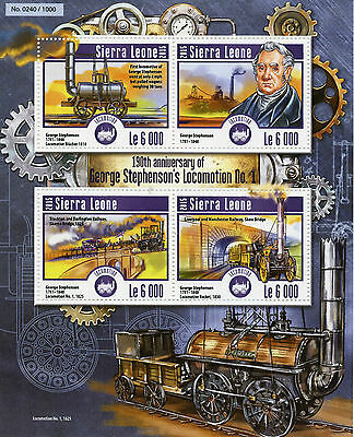 Sierra Leone 2015 MNH George Stephenson Locomotion No1 190th 4v MS Trains Stamps