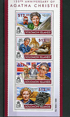 Solomon Islands 2015 MNH Agatha Christie 125th 4v M/S Miss Marple Poirot Stamps