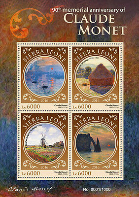 Sierra Leone 2016 MNH Claude Monet 4v M/S Field Tulips Holland Paintings Stamps