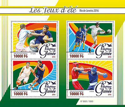 Guinea 2016 MNH Olympics Summer Games Rio 4v M/S Boxing Rugby Football Stamps