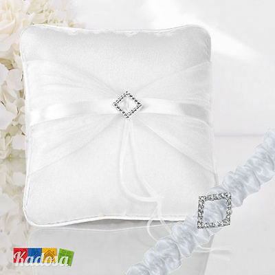 Set SPOSI Diamond Cuscino porta fedi + giarrettiera Brillanti Matrimonio Wedding