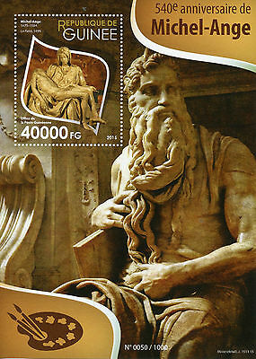 Guinea 2015 MNH Michelangelo 540th 1v S/S Sculptures La Pieta St Peters Stamps