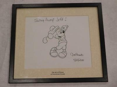 Disney Framed Art Sketch Jim Banserio Downtown Golfing Mickey Mouse 2001 Signed
