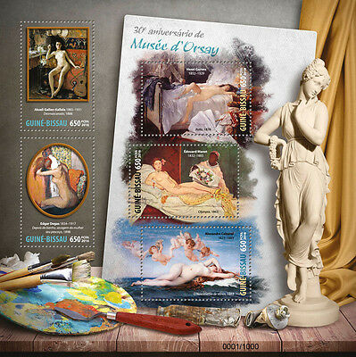 Guinea-Bissau 2016 MNH Orsay Museum Musée d'Orsay 5v M/S Nude Paintings Stamps