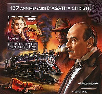Central African Rep 2015 MNH Agatha Christie 125th 1v S/S David Suchet Stamps