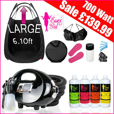 NEW Black Fake Tan Spray Tanning Kit HVLP 700w Spray Tan Machine + Accessories