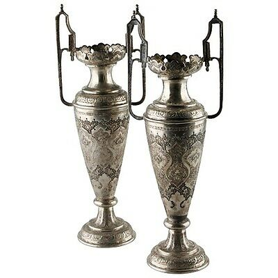 Pair Of Antique Vtg Persian Silver Engraved Vases