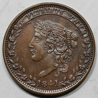 """1841 Low-69 R-2 """"Not One Cent"""" Hard Times Token"""