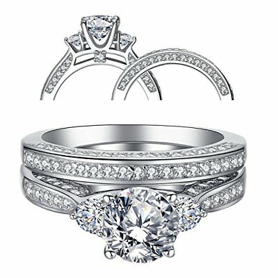 Women's Three Stone CZ Sterling Silver Wedding Engagement Ring Sets Size 5 -10