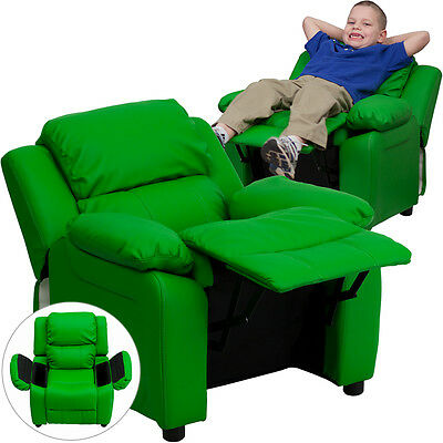 Deluxe Padded Contemporary Green Vinyl Kids Recliner with Storage Arms [BT-7985-