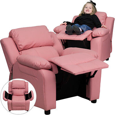 Deluxe Padded Contemporary Pink Vinyl Kids Recliner with Storage Arms [BT-7985-K