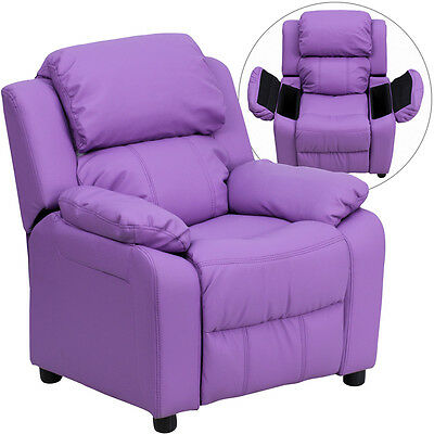 Deluxe Padded Contemporary Lavender Vinyl Kids Recliner with Storage Arms [BT-79